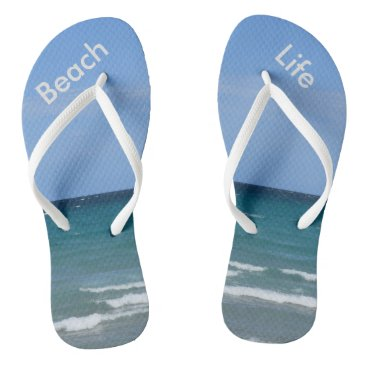 Beach Themed Clear turquoise beach flip-flops flip flops
