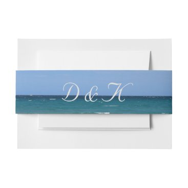 Clear turquoise beach invitation belly bands invitation belly band