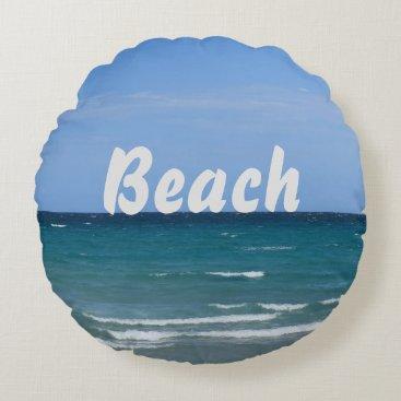Beach Themed Clear turquoise beach round throw pillow