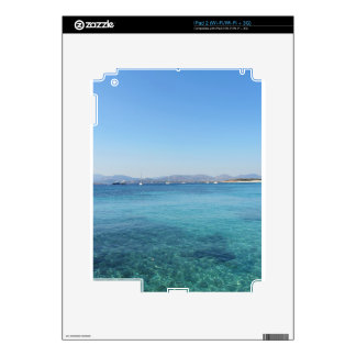 Clear turquoise sea water and boats on the horizon decals for the iPad 2