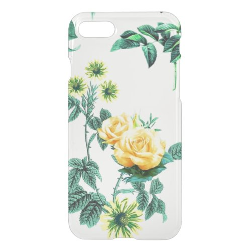 Clear vintage floral flowers yellow rose roses Phone Case