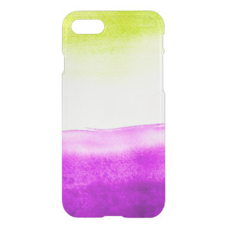Clear watercolor ikat hipster neon green purple iPhone 7 case