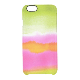 Clear watercolor ikat hipster neon pink green chic clear iPhone 6/6S case