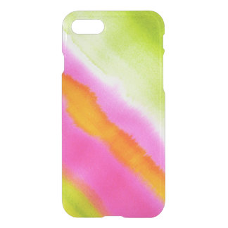 Clear watercolor ikat hipster neon pink green stri iPhone 8/7 case
