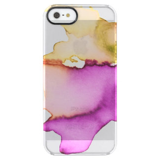 Clear watercolor ikat hipster neon purple yellow clear iPhone SE/5/5s case