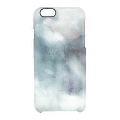 Clear watercolor ikat hipster pastel nautical blue clear iPhone 6/6S case