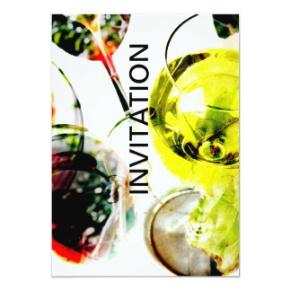 """Clear wine glasses with red and white wine collage 5"""" x 7"""" invitation card"""