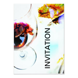 Clear wine glasses with red wine collage 5x7 paper invitation card
