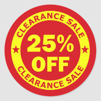 Clearance Sale 25 Percent Off Classic Round Sticker