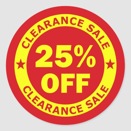Clearance Sale 25 Percent Off Classic Round Sticker