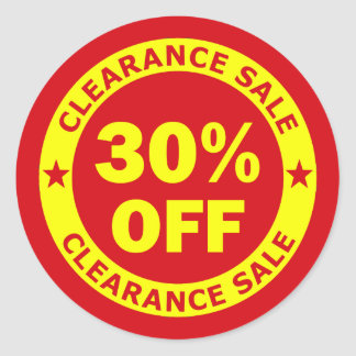 Clearance Sale 30 Percent Off Classic Round Sticker