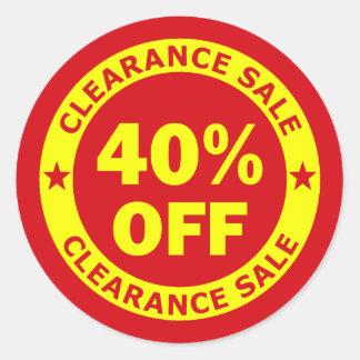 Clearance Sale 40 Percent Off Classic Round Sticker