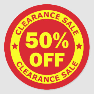 Clearance Sale 50 Percent Off Round Stickers