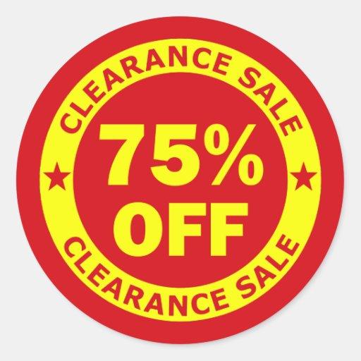 Clearance Sale 75 Percent Off Classic Round Sticker Zazzle