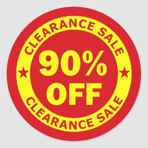 Clearance Sale 90 Percent Off Round Sticker