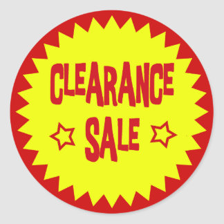 CLEARANCE SALE RETAIL BADGE CLASSIC ROUND STICKER
