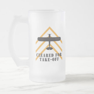 Cleared For Take Off Frosted Glass Beer Mug