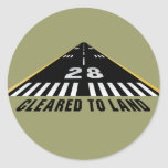 Cleared To Land Runway Classic Round Sticker