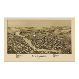 Clearfield, PA Panoramic Map - 1895 Poster