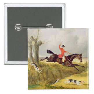 Clearing a Ditch, 1839 (oil on panel) 2 Inch Square Button