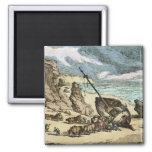 Clearing a Wreck on the North Coast of Cornwall, f 2 Inch Square Magnet