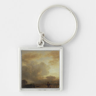 Clearing Thunderstorm in the Countryside, 1857 Silver-Colored Square Keychain
