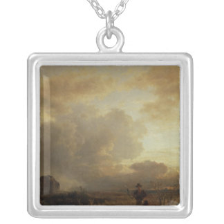 Clearing Thunderstorm in the Countryside, 1857 Square Pendant Necklace