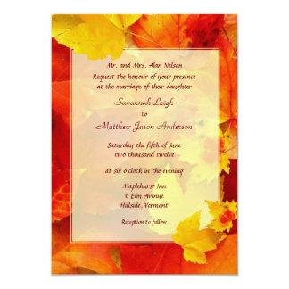 Clearly Fall Border 5x7 Wedding Invitations