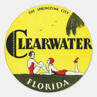 Clearwater 1925 la Florida Pegatina Redonda