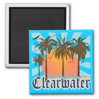 Clearwater Beach Florida FLA 2 Inch Square Magnet