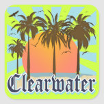 Clearwater Beach Florida FLA Square Stickers