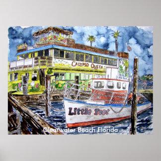 clearwater_boat_painting, playa la Florida de Clea Póster