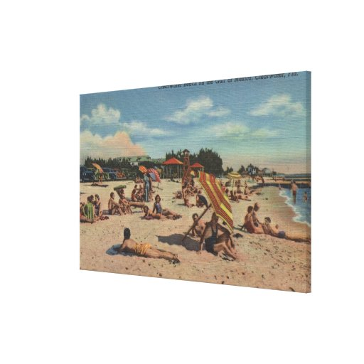 Clearwater, FL - Sunbathers on Clearwater Beach Canvas Print