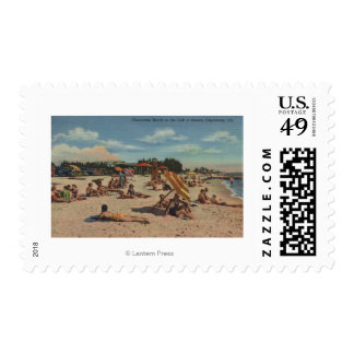 Clearwater, FL - Sunbathers on Clearwater Beach Postage Stamp