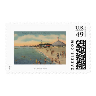 Clearwater, FL - Swimmers & Sunbathers on Beach Postage Stamp