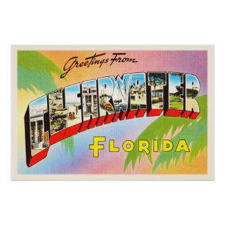 Clearwater Florida FL Old Vintage Travel Souvenir Poster