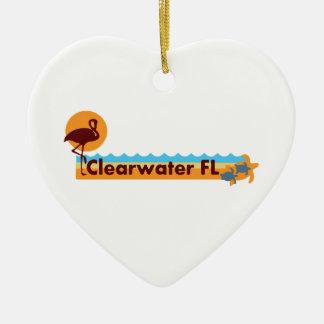 Clearwater la Florida - diseño de la playa Adorno Navideño De Cerámica En Forma De Corazón
