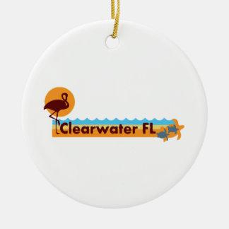 Clearwater la Florida - diseño de la playa Adorno Navideño Redondo De Cerámica