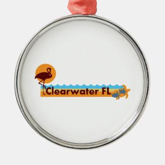 Clearwater la Florida - diseño de la playa Adorno Navideño Redondo De Metal