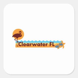 Clearwater la Florida - diseño de la playa Calcomanía Cuadradas Personalizadas
