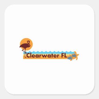 Clearwater la Florida - diseño de la playa Pegatina Cuadrada