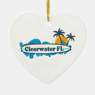 Clearwater la Florida - diseño de la resaca Adorno Navideño De Cerámica En Forma De Corazón