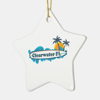 Clearwater la Florida - diseño de la resaca Adorno Navideño De Cerámica En Forma De Estrella