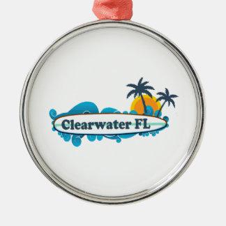 Clearwater la Florida - diseño de la resaca Adorno Navideño Redondo De Metal