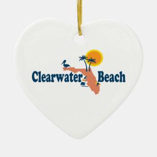 Clearwater la Florida - diseño del mapa Adorno Navideño De Cerámica En Forma De Corazón