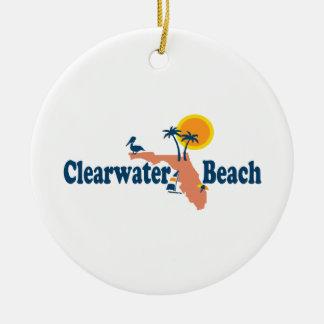 Clearwater la Florida - diseño del mapa Adorno Navideño Redondo De Cerámica