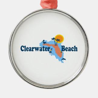 Clearwater la Florida - diseño del mapa Adorno Navideño Redondo De Metal