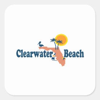 Clearwater la Florida - diseño del mapa Calcomanías Cuadradases