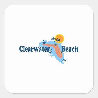 Clearwater la Florida - diseño del mapa Pegatina Cuadradas Personalizada