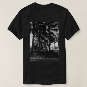 Beach Themed Clearwater Palm Trees B&W Picture Tee